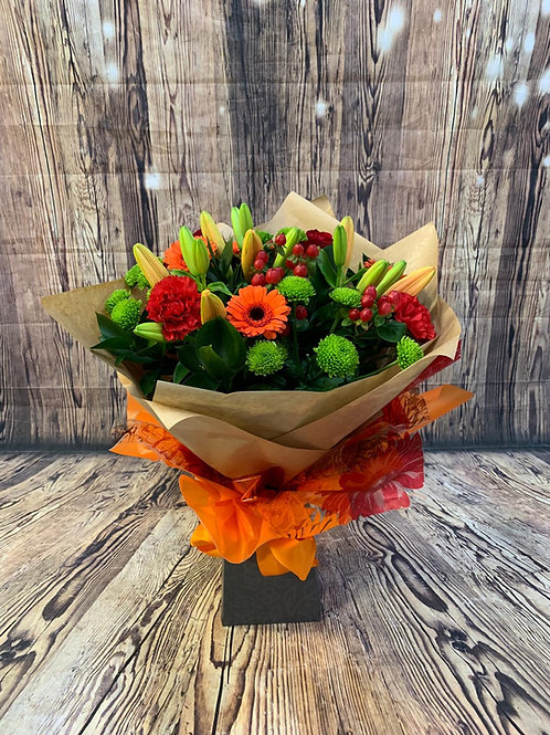 Tall round aqua flower bouquet orange Free delivery from the flower shop kirton