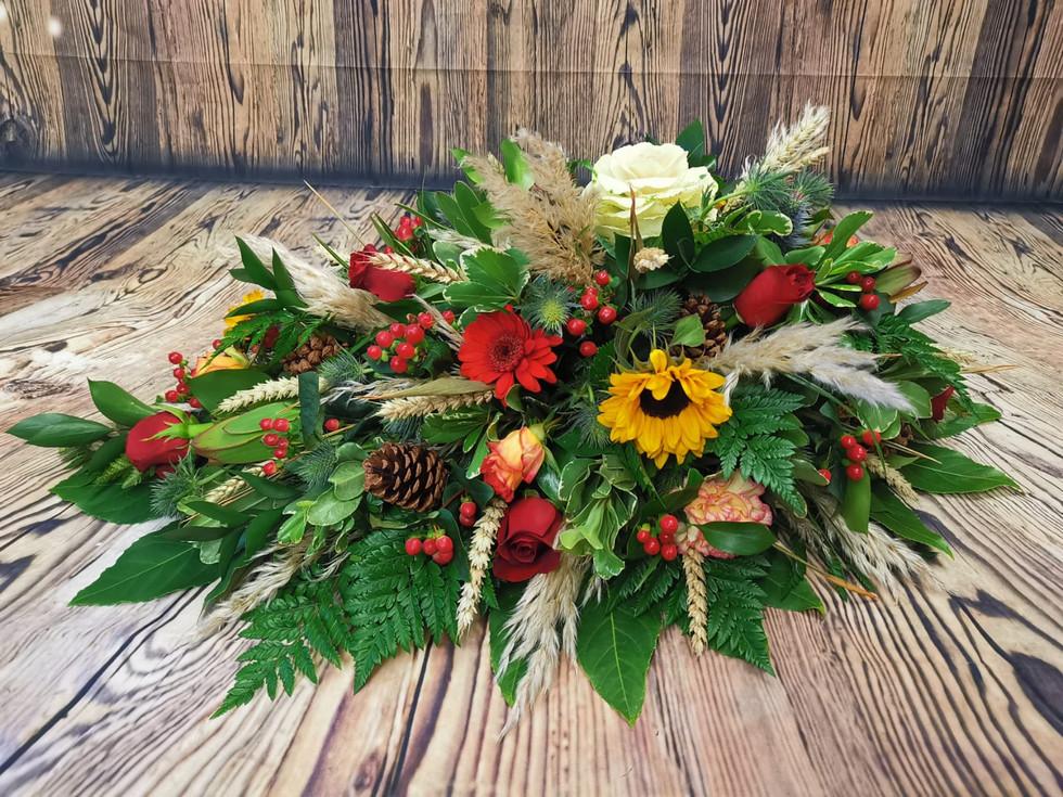 Bespoke Single Ended Coffin Spray Funeral Flower Tribute Example 2.jpg