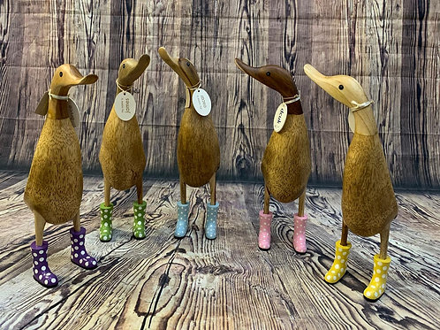 Natural Welly Ducklet with Spotty Welly Boots