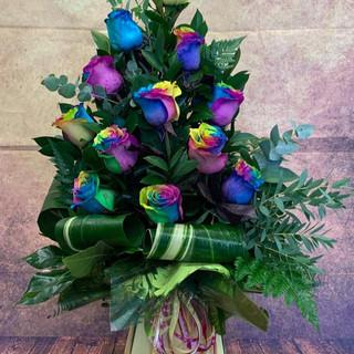12 rainboq rose aqua flower bouquet