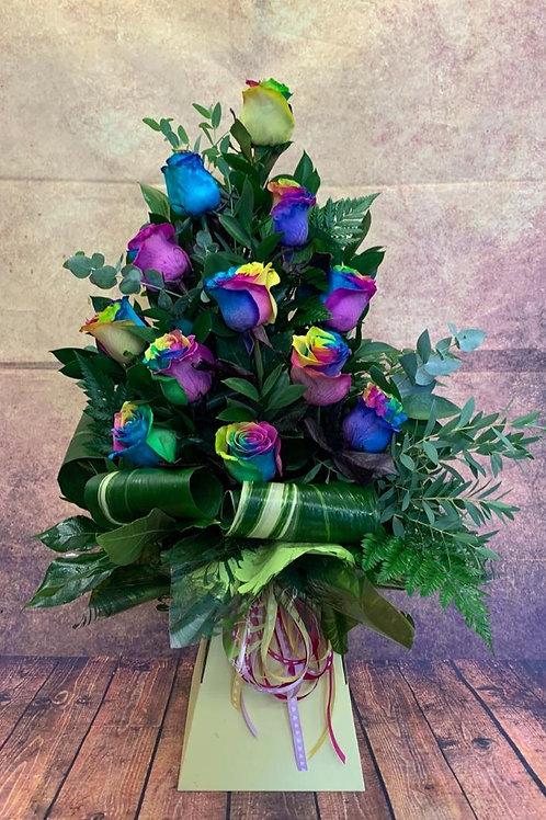 12 Rainbow Rose Aqua Bouquet