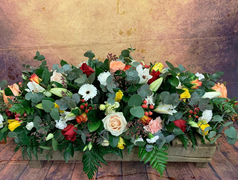 Double Ended Mixed Flower Coffin Spray Funeral Flower Tribute Example 22.jpg