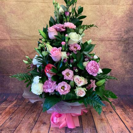 pink and cream tall aqua flower bouquet.jpg