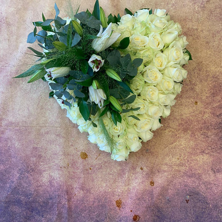 white rose funeral flower heart with posy.jpg