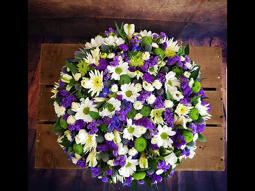 Mixed Flower Funeral Posy Pad Example 1 Free delivery from the flower shop kirton