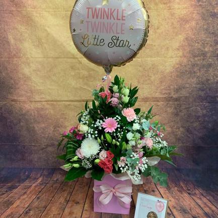 newborn girl aqua flower bouquet.jpg