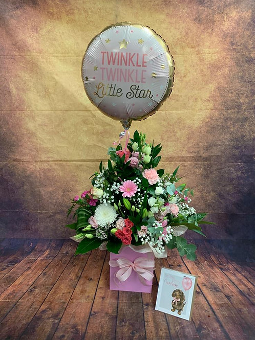 New-born Girl Flower Bouquet with Free Wrendale Card and Helium Balloon - Handmade Floral Arrangement in Water