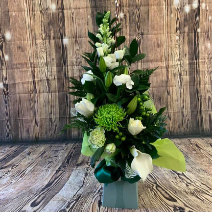 White and Green mixed flower aqua bouquet.jpg
