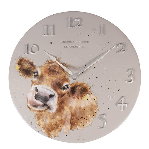 Wrendale Mooo Cow Clock Front