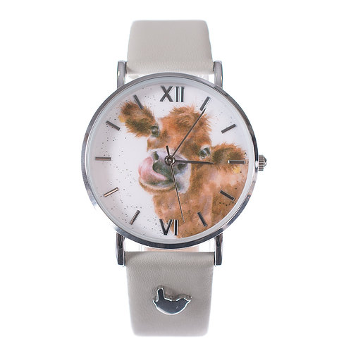 Wrendale Designs Moooo Leather Watch front view