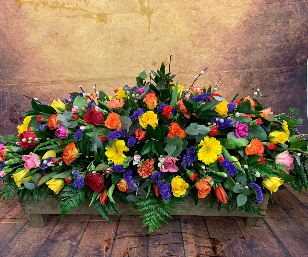 Double Ended Mixed Flower Coffin Spray Funeral Flower Tribute Example 21.jpg