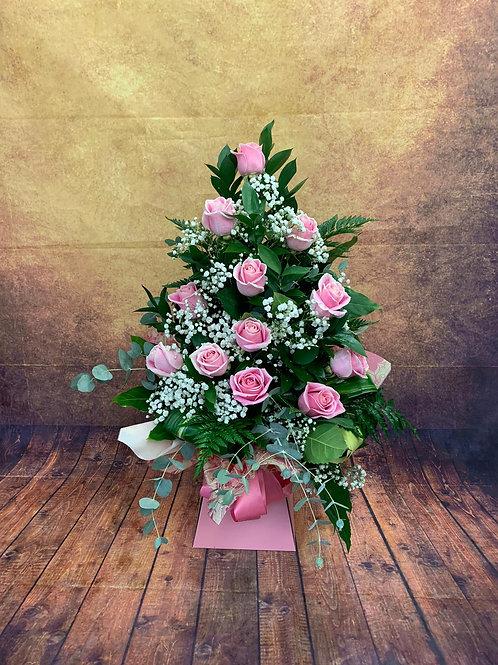 12 Pink Roses Flower Bouquet  - Handmade Floral Arrangement In Water