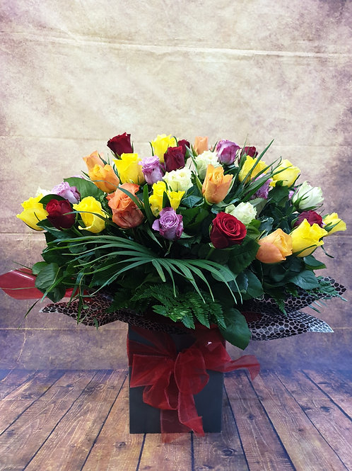 60 Large Premium Mixed Rose Aqua Flower Bouquet Free delivery from the flower shop kirton