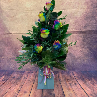 6 rainbow rose aqua flower bouquet