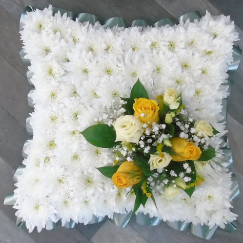 White Funeral flower Cushion tribute Free delivery from the flower shop kirton