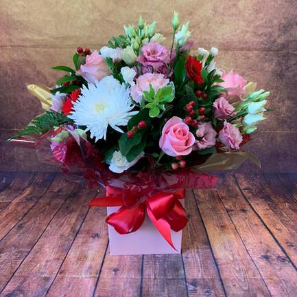 Pink and White round aqua flower bouquet.jpg