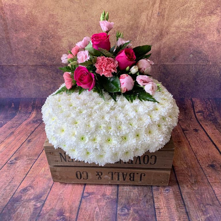 Funeral Cushion tribute with pink posy.jpg
