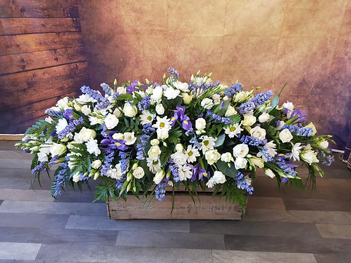 coffin spray funeral flower tribute white Free delivery from the flower shop kirton