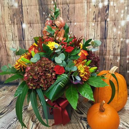 autumn themed mixed flower aqua bouquet.jpg