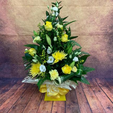 Yellow Tall aqua flower bouquet.jpg