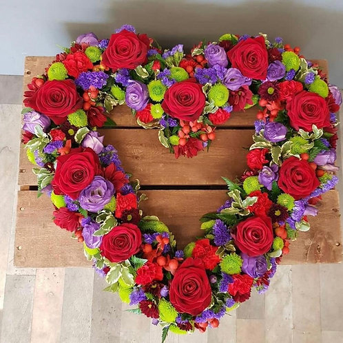 open heart funeral flower tribute red and pink Free delivery from the flower shop kirton