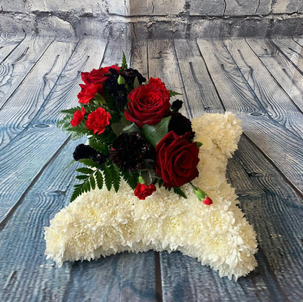 bespoke funeral cushion tribute with red posy.jpg