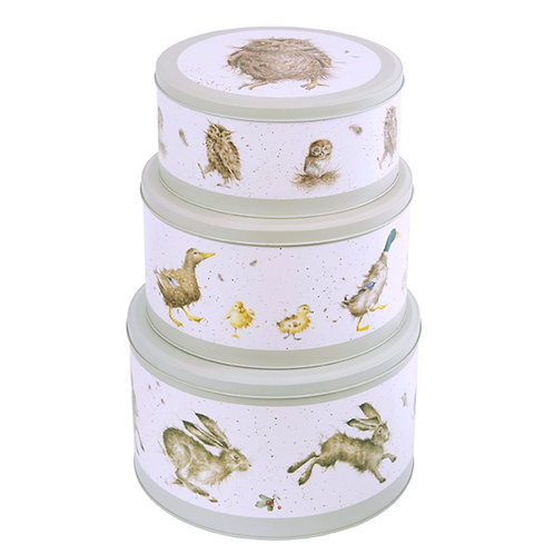 Wrendale Designs Cake Tin Nest -Hare, Duck, Owl Stack View