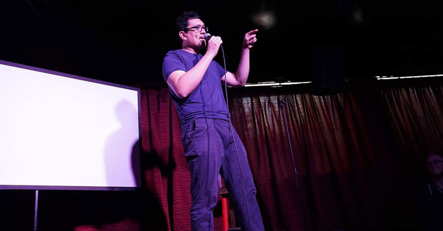 MJ Wong in his comedy show In the Wong Family