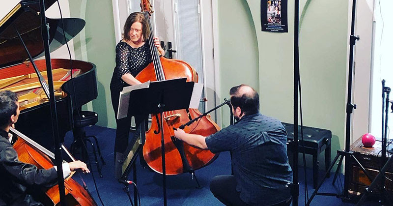 Marian Heckenberg playing double bass for the Gravity online performance