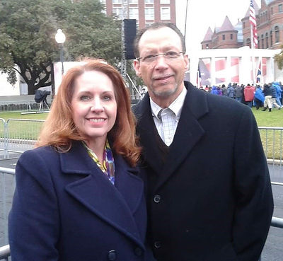Michael and Kelly Marcades in Dealey Paza 50th Commemation oPresident Kennedy's Assassination