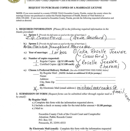 Escambia County Marriage Record Request.