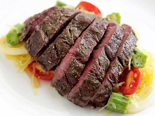 Hanger Steak with Spaghetti Squash & Okra Saute