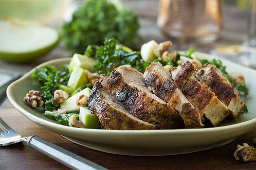 Spice-rubbed pork tenderloin with kale and apple salad