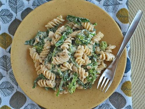 Creamy Pasta with Almond Feta and Broccoli Rabe