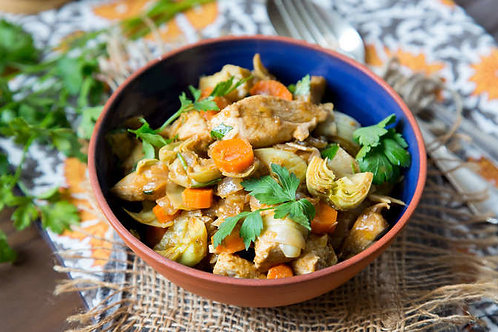 Moroccan chicken stew with artichokes and carrots