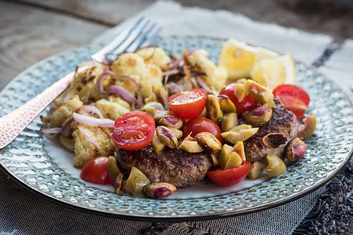 Middle Eastern beef patties with cauliflower salad