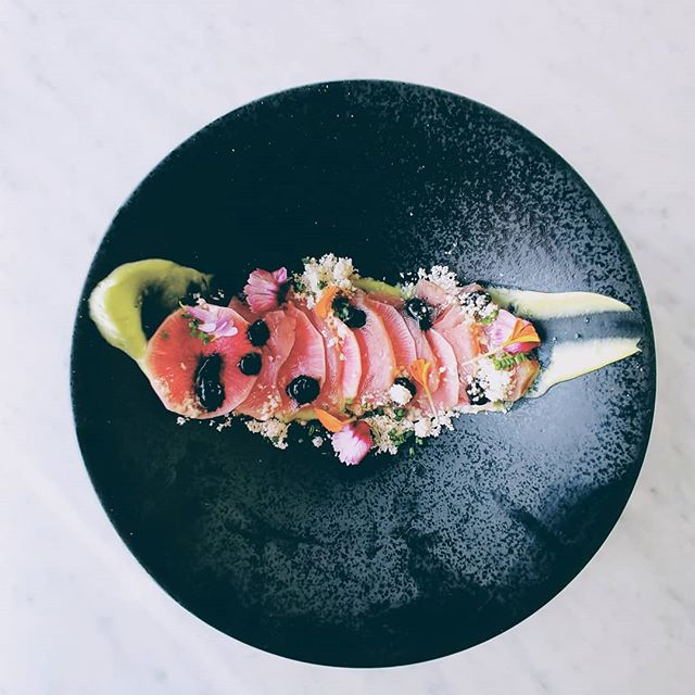 Tuna crudo, pickled watermelon radish, wasabi avocado puree, yuzu soy gel, powdered Sesame oil