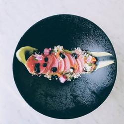 Tuna crudo, pickled watermelon radish, wasabi avocado puree, yuzu soy gel, powdered Sesame oil