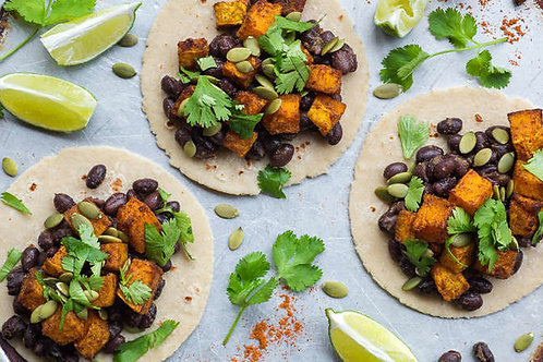 Autumn-spiced tacos with butternut squash and black beans