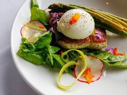 Sumac seared halibut, lemon pepper asparagus, citrus pea vine salad, poached egg #chefinferno #insta
