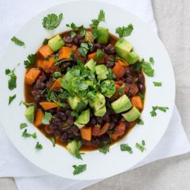 Sweet Potato & Black Bean Chili with Avocado .