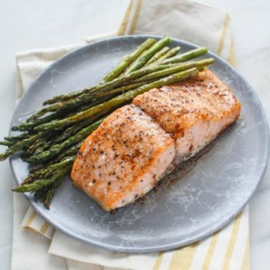 Roasted Salmon & Asparagus with Balsamic-Butter Sauce .