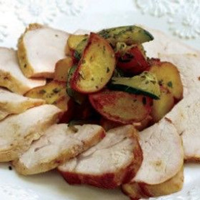 Pork Loin with Fingerling Potatoes and Zucchini