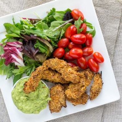 Chicken Fingers & Avocado Dip with Greens & Grape Tomatoes .