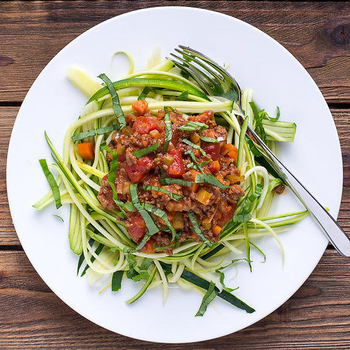 Chunky Beef Bolognese Sauce with Zucchini Noodles & Basil Ribbons