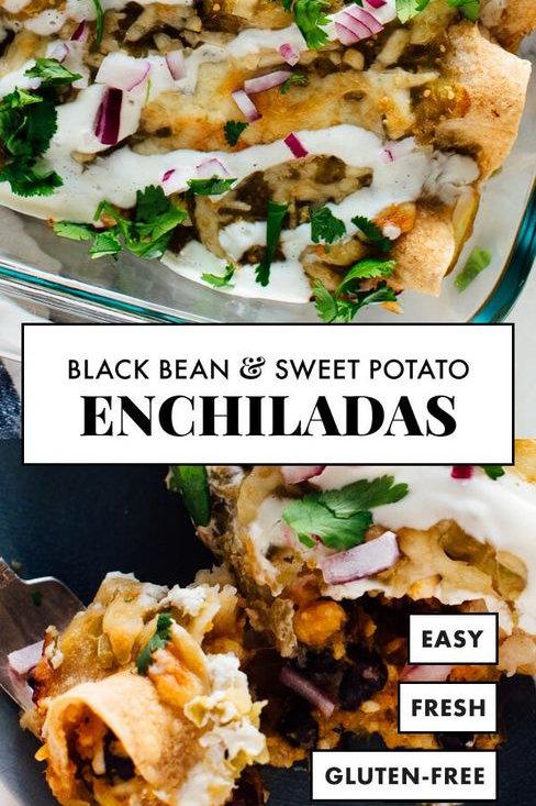 Black Bean Sweet Potato Enchiladas