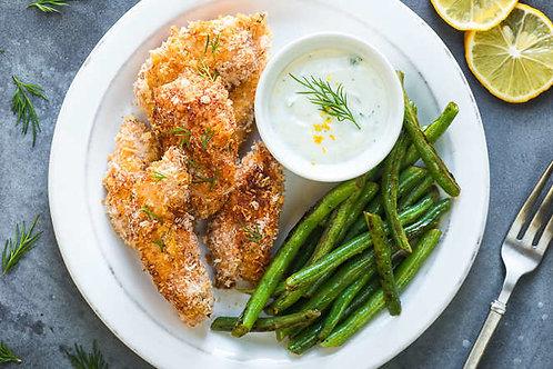 Crunchy chicken tenders with herbed yogurt dip
