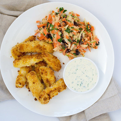 Panko-Crusted Fish Sticks with Lemon-Herb Dip & Carrot-Apple Slaw