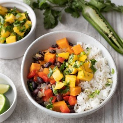 Caribbean Black Bean Stew with Mango Salsa & Rice .