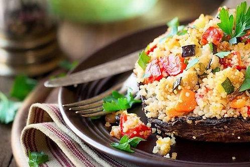 Stuffed portobello mushrooms with vegetable couscous
